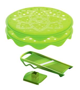 KIT TOPCHIPS 2 Plateaux Cuit-Chips en Silicone + Mandoline MASTRAD Vert